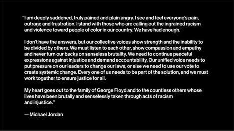 Michael Jordan on George Floyd