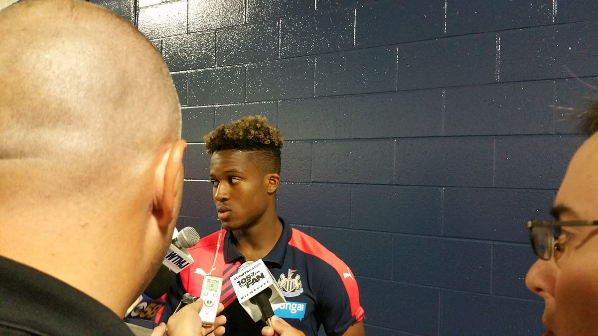 Coming Home Newcastle's Chris Parry (left) interviewing Rolando Aarons after the match