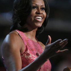 First Lady Michelle Obama addresses the Democratic National Convention in Charlotte, N.C., on Monday, Sept. 3, 2012.