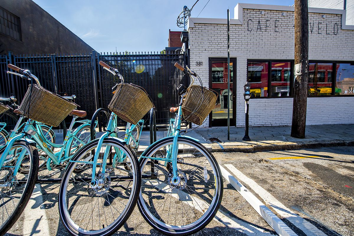Outside Cafe and Velo on Edgewood Avenue in Sweet Auburn.