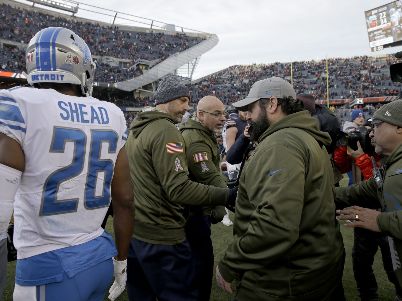 Bears coach Matt Nagy greets Lions coach Matt Patricia after the Bears' 34-22 victory over hte Lions on Nov. 11, 2018 at Soldier Field.