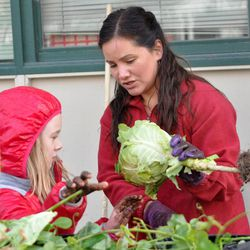 In this Sept. 17, 2012 photo, Eagle River Elementary Optional Education parent volunteer Felicia Hanna, right, discusses the features of cabbage with student Jaime Simkins in Eagle River, Alaska. The students harvested vegetables they planted last spring.