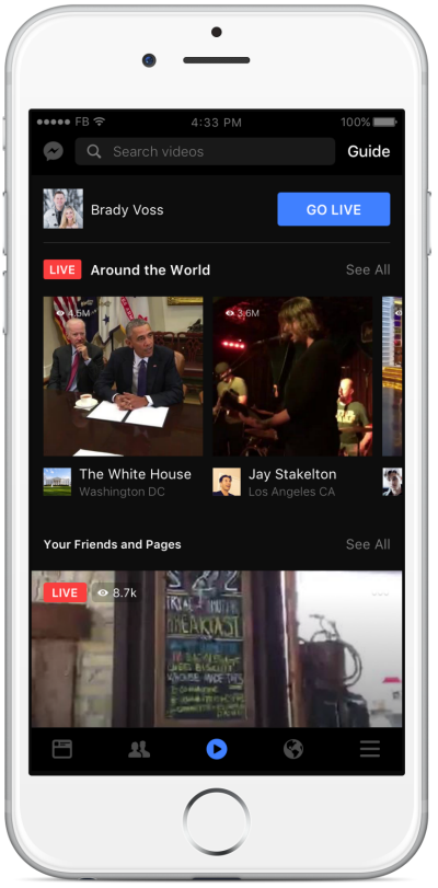 Facebook's new video tab.
