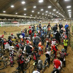 Connor Clifford, 6, and numerous other racers practice prior to racing BMX in South Jordan on Dec. 6, 2015.