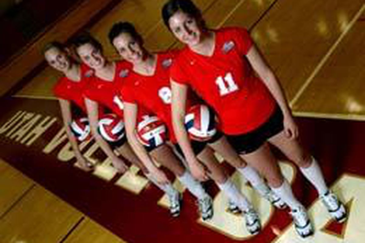Left to right: Lori Baird, Shannon Krug, Kathryn Lovell and Airial Salvo are the University of Utah volleyball team's freshman players. They are still teenagers, but have already contributed for the Utes this season.
