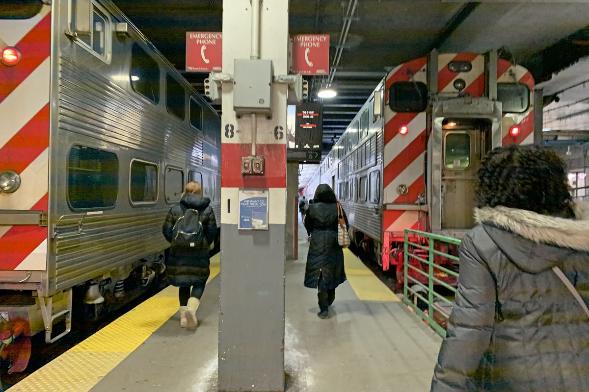 Metra riders board trains at Union Station.