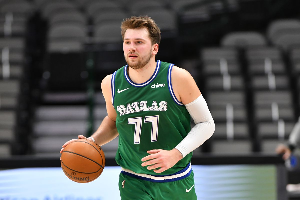 Luka Doncic of the Dallas Mavericks handles the ball during the game against the Chicago Bulls on January 17, 2021 at the American Airlines Center in Dallas, Texas.