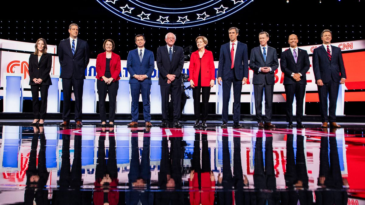Ten Democratic presidential hopefuls onstage ahead of the first round of the second Democratic primary debate of the 2020 presidential campaign season n Detroit, Michigan, on July 30, 2019.