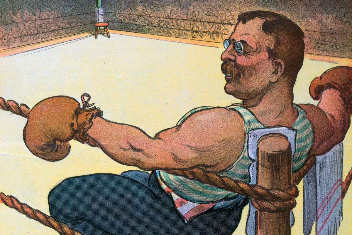 A caricature of President Roosevelt boxing.