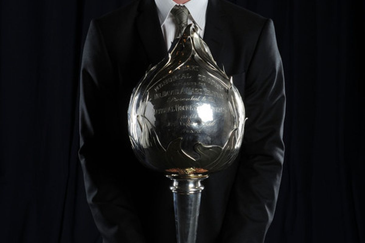 LAS VEGAS - JUNE 23:  Henrik Sedin of the Vancouver Canucks poses for a portrait with the Hart Memorial Trophy during the 2010 NHL Awards at the Palms Casino Resort on June 23, 2010 in Las Vegas, Nevada.  (Photo by Harry How/Getty Images)