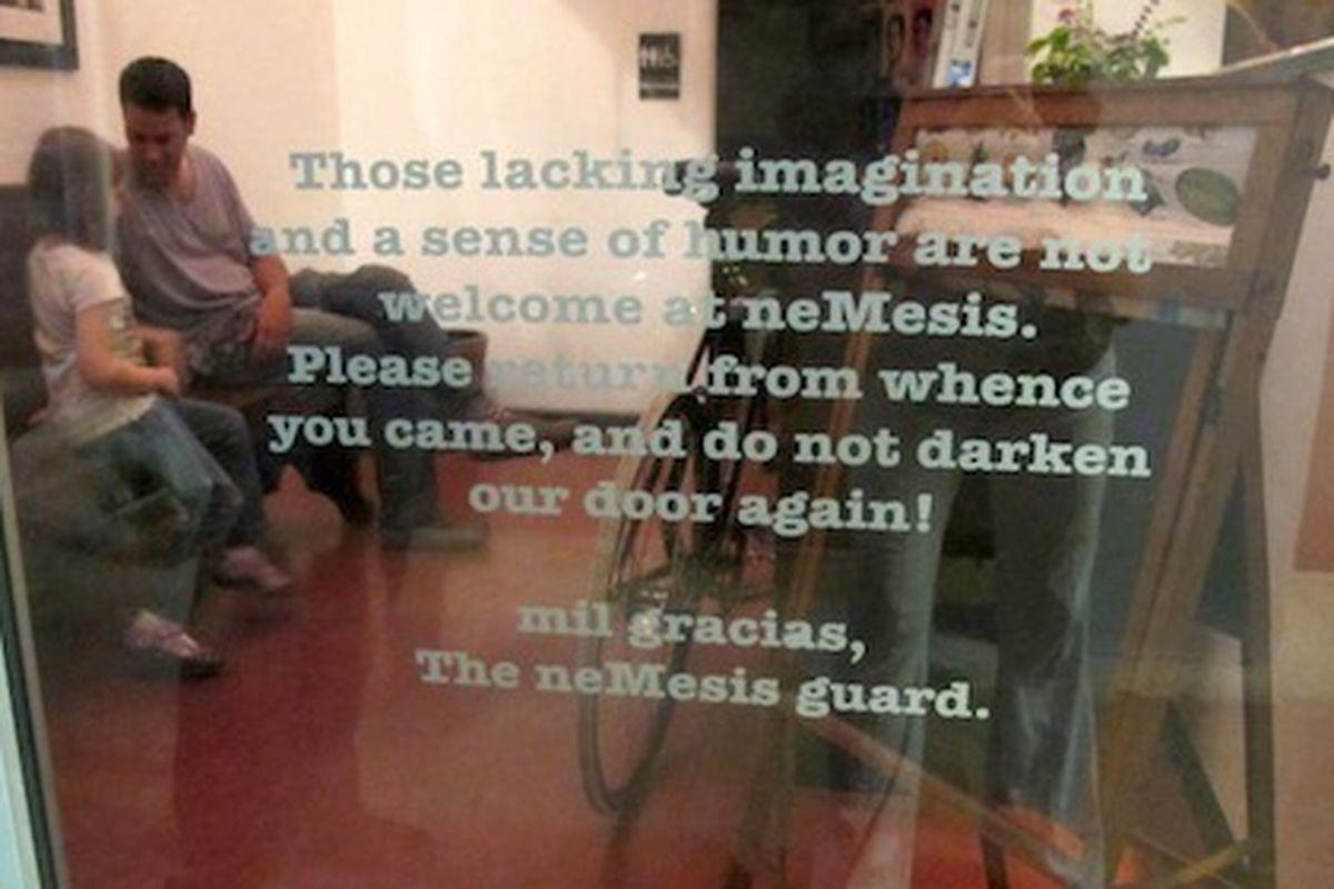 The front door of neMesis in Miami.