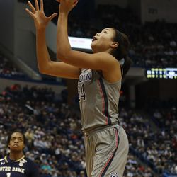 UConn's Napheesa Collier (24) lays it in during the Notre Dame Fighting Irish vs UConn Huskies women's college basketball game in the Women's Jimmy V Classic at the XL Center in Hartford, CT on December 3, 2017.