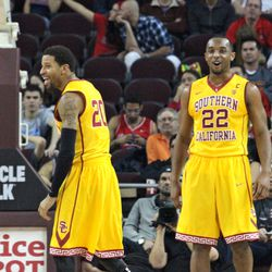 Byron Wesley & J.T. Terrell celebrate a basket.