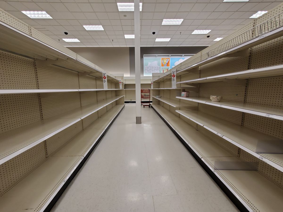 Empty shelves in a Target store.