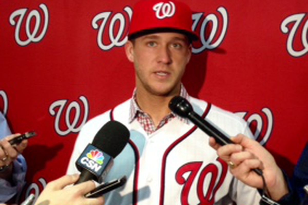 New Nationals' reliever Trevor Gott talked to reporters at Nats WinterFest. ©@federalbaseball