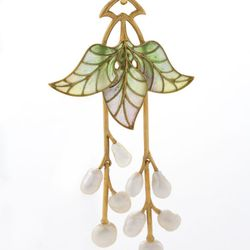 French Art Nouveau 18 karat gold and enamel pendant with pearls. Circa 1900. $22,500