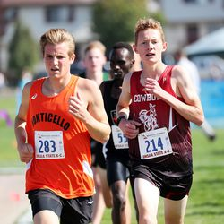 Runners compete in the 2A boys high school state cross-country championships in Cedar City on Wednesday, Oct. 21, 2020.