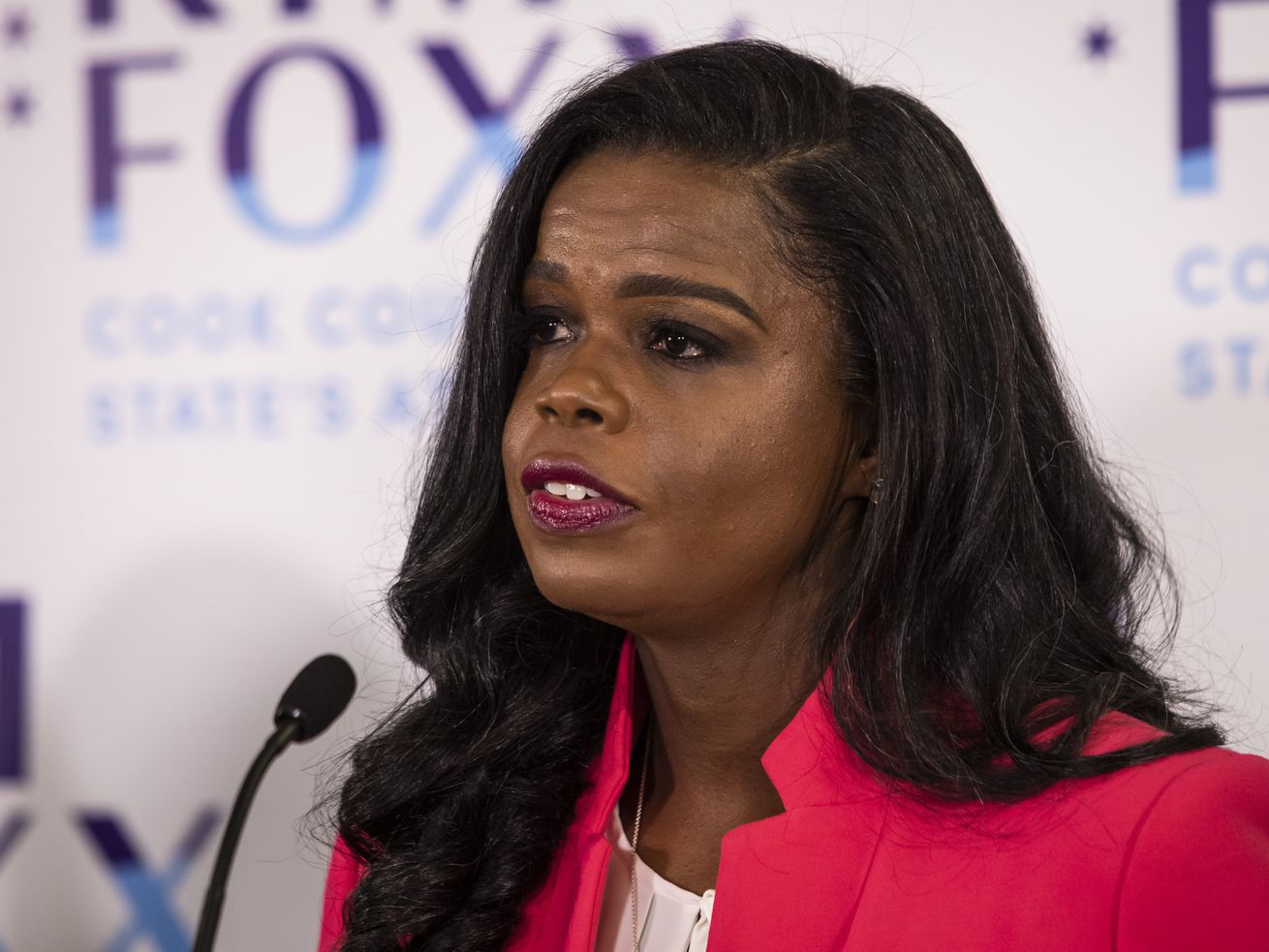 Cook County State's Attorney Kim Foxx speaks at her election night headquarters at the Kinzie Hotel Nov. 3, 2020.