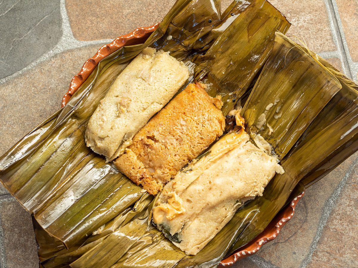 Banana leaf tamales from Tamales Elena.