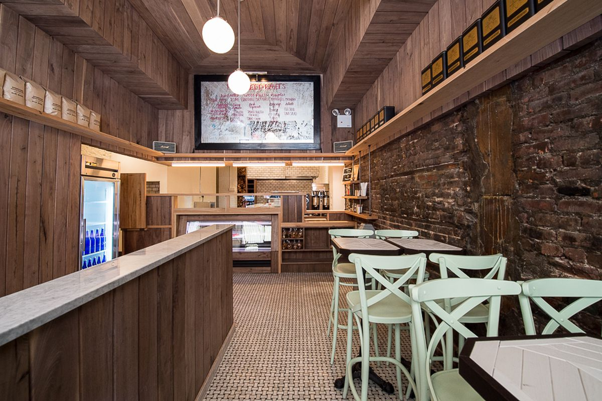 The dining room of a chic cafe in Nolita