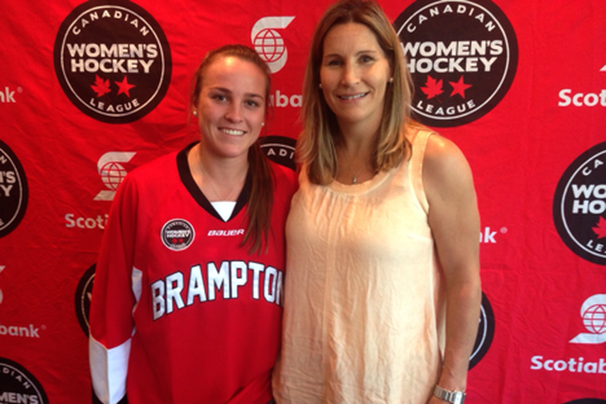 First draft Pick Sarah Edney with Brampton GM Lori Dupuis