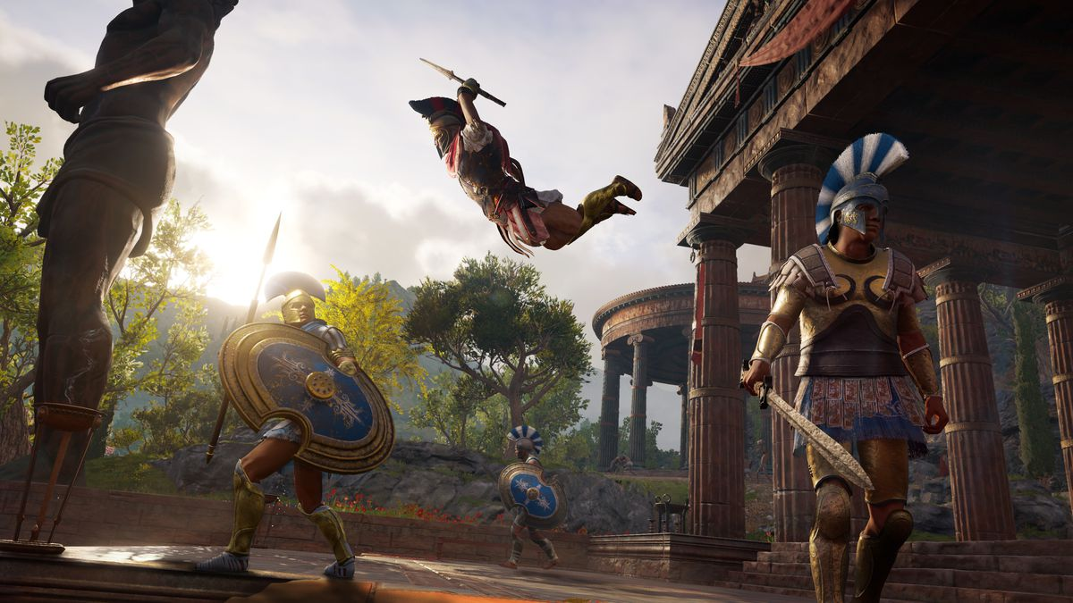 Assassin's Creed Odyssey - Alexios leaping toward a soldier