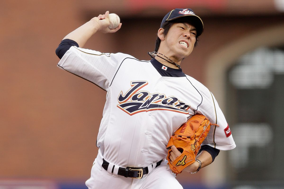 Kenta Maeda pitches for Japan in the 2013 World Baseball Classic