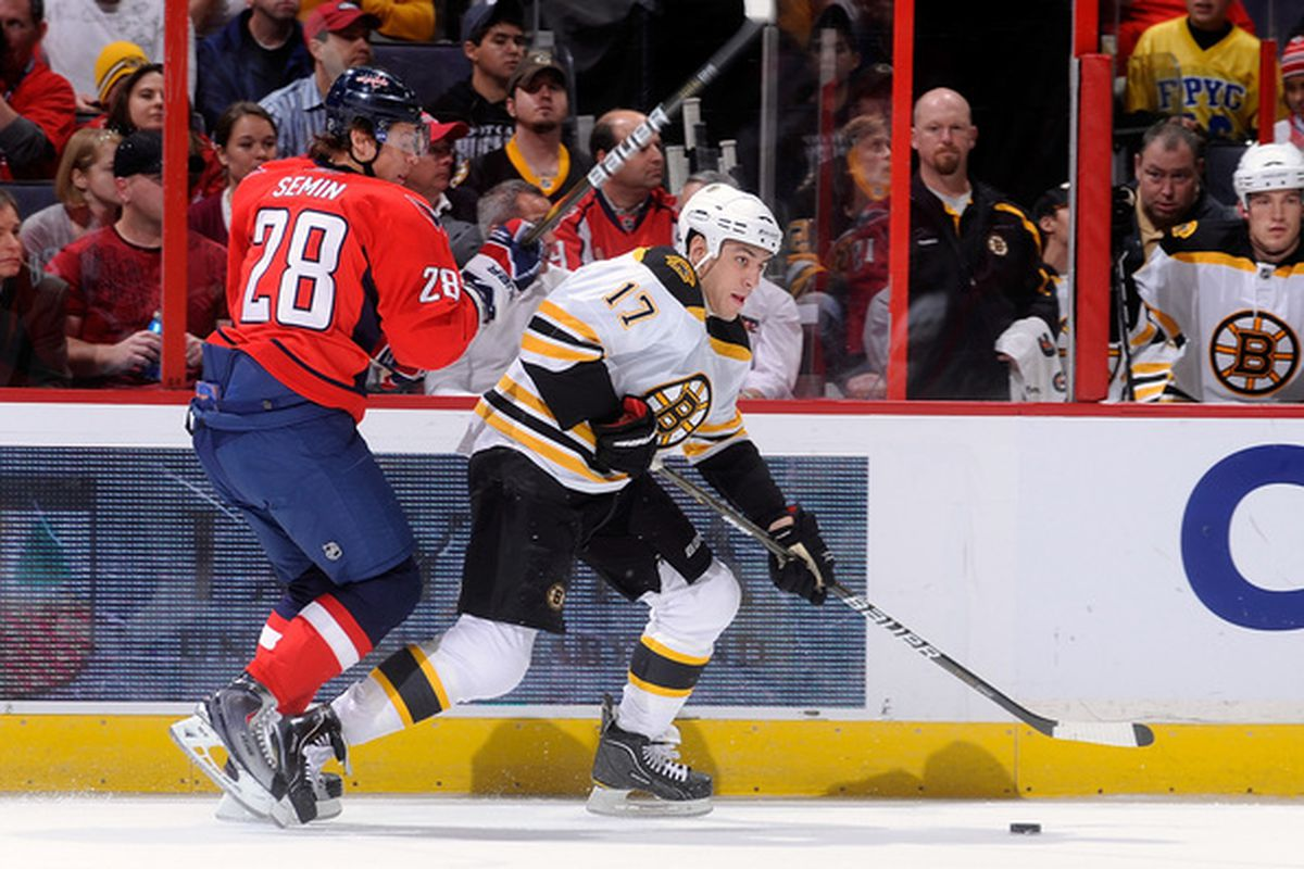 WASHINGTON - OCTOBER 19:  Milan Lucic #17 of the Boston Bruins keeps the puck away from Alexander Semin #28 of the Washington Capitals at the Verizon Center on October 19 2010 in Washington DC.  (Photo by Greg Fiume/Getty Images)