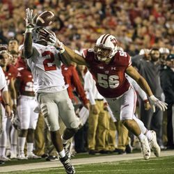 Dontre Wilson tries to haul in a catch for Ohio State.