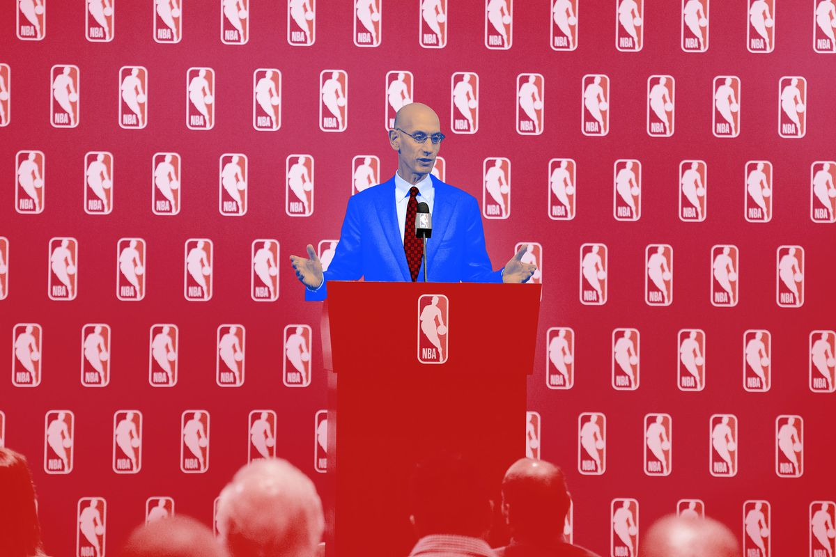Adam Silver stands at a lectern