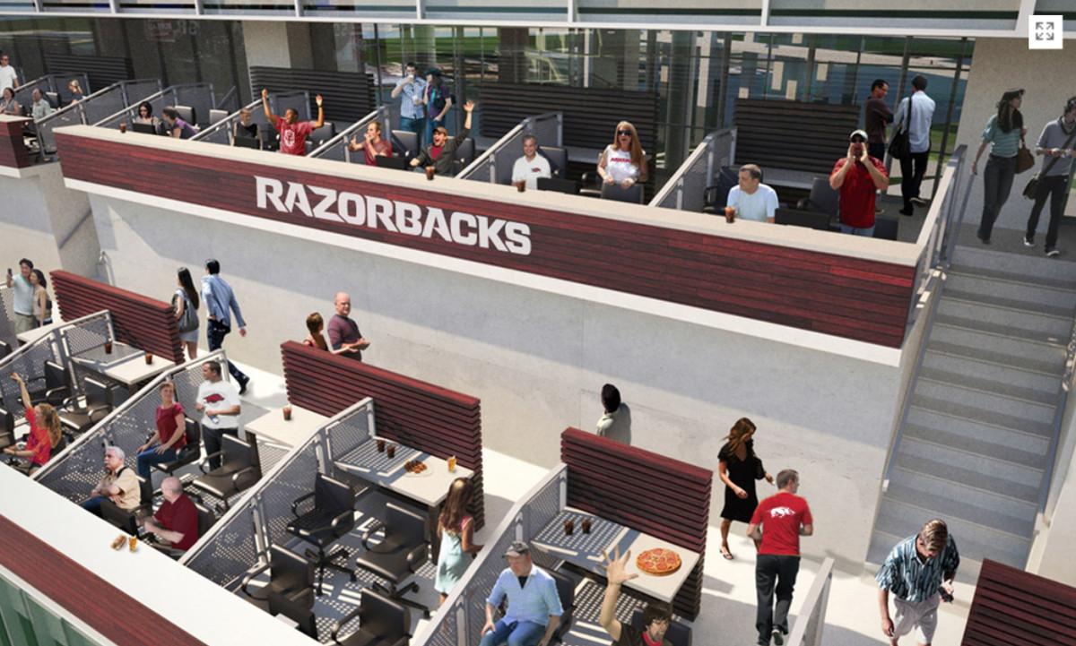 Razorback Stadium North End Zone Boxes