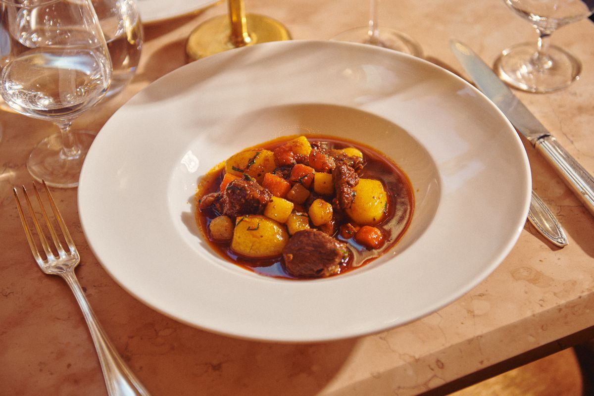 A big white bowl with a goulash, including huge chunks of meat and potatoes.