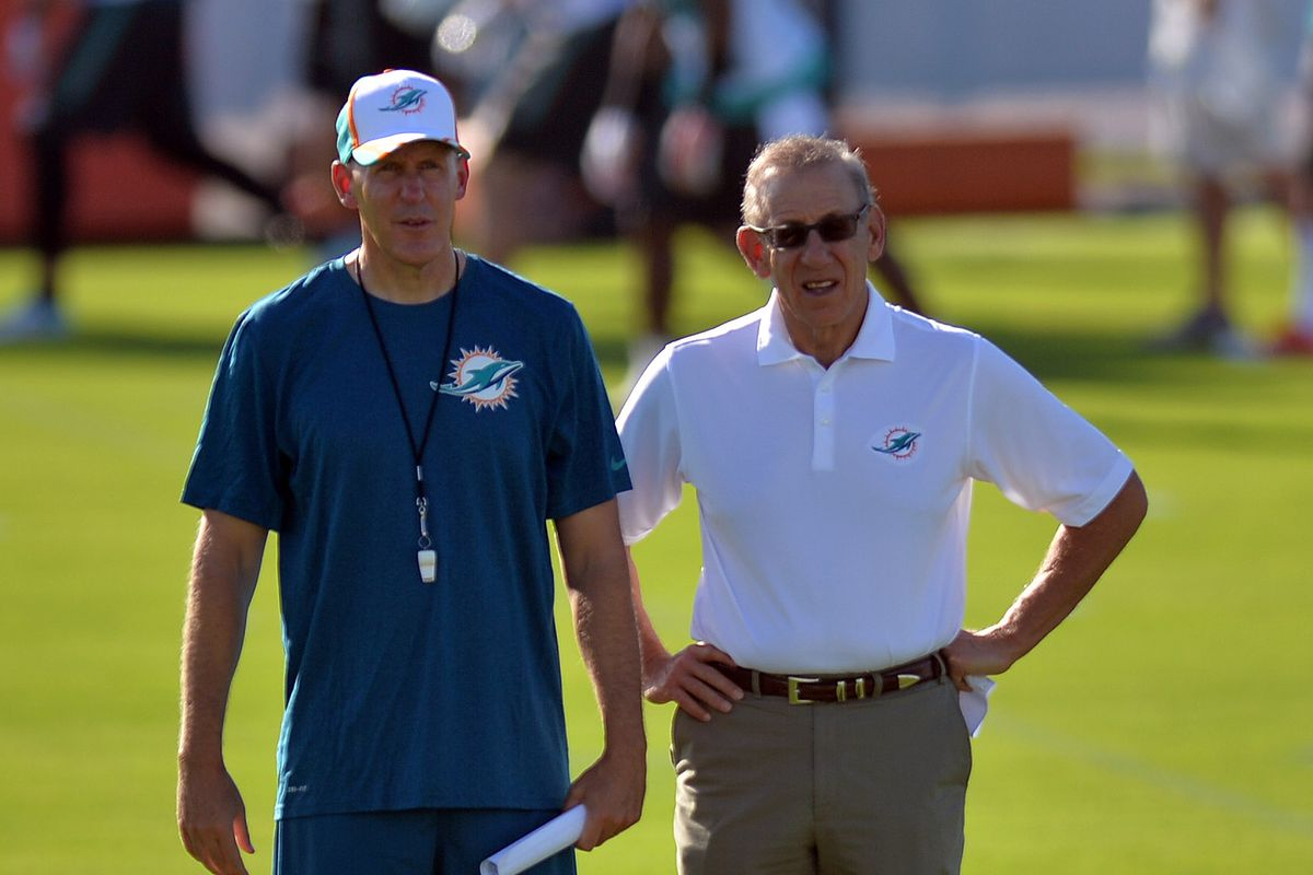 Dolphins owner Stephen Ross (right) and coach Joe Philbin watching a training camp practice