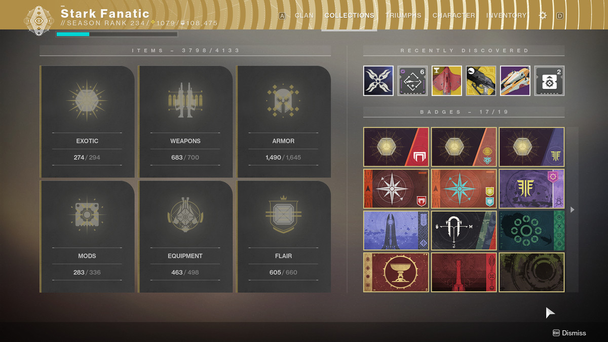 Destiny 2 Collections tab