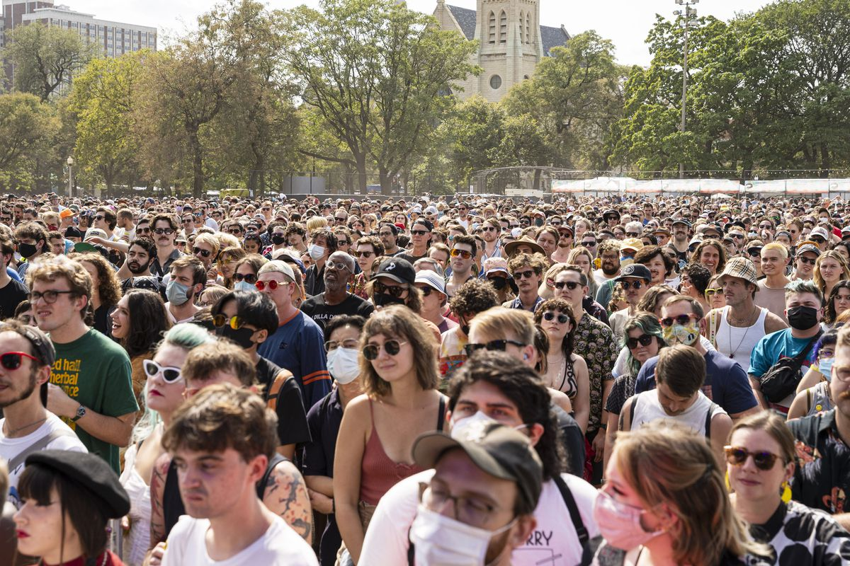 Fans watch as DEHD performs on Day 1 of the Pitchfork Music Festival on Friday.