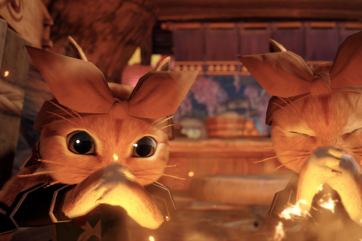 Two palicos cook in Monster Hunter Rise