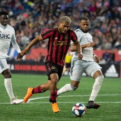 FOXBOROUGH, MA - APRIL 13: Atlanta United FC forward Josef Martinez #7 takes a shot during the second half at Gillette Stadium on April 13, 2019 in Foxborough, Massachusetts. (Photo by J. Alexander Dolan - The Bent Musket)