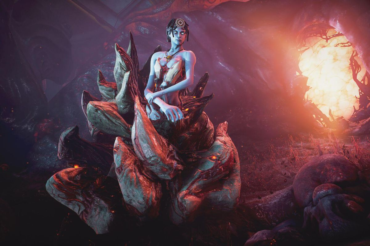 Warframe - the character MOTHER hangs out on the infested planet of Deimos