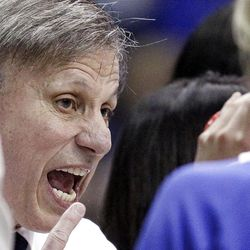 DePaul head coach Doug Bruno yells his team during the second half of an NCAA tournament first-round women's college basketball game against BYU in Rosemont, Ill., Saturday, March 17, 2012. DePaul won 59-55. (AP Photo/Nam Y. Huh)