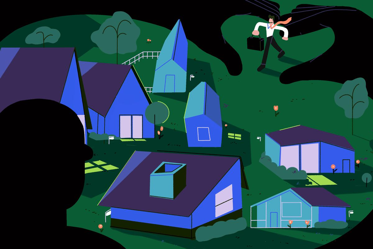 A larger than life shadowed figure extends his arms around a quiet neighborhood - he's protecting the community from investors looking to come in and buy homes to resell or redevelop. The homes are peacefully unaware of their protector. Illustration.