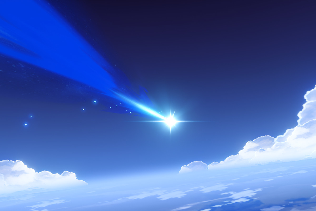 A sky with a blue shooting star flying through it