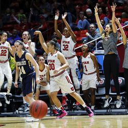 'The team celebrates as Jordanna Porter of Utah hits a 3-pointer during NIT women's basketball in Salt Lake City, Friday, March 18, 2016.