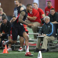 Utah's Keith McGill performs a speed drill as NFL hopefuls work out for pro scouts during Utah pro football day at the University of Utah Wednesday, March 19, 2014, in Salt Lake City.
