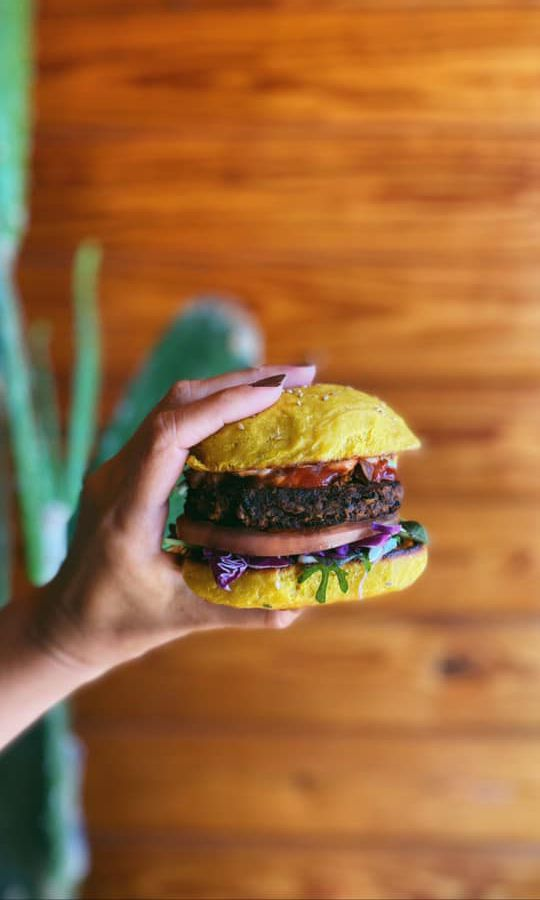 A hand holds a veggie burger, topped with tomato, sauce, and lettuce, in front of a wooden background and succulent