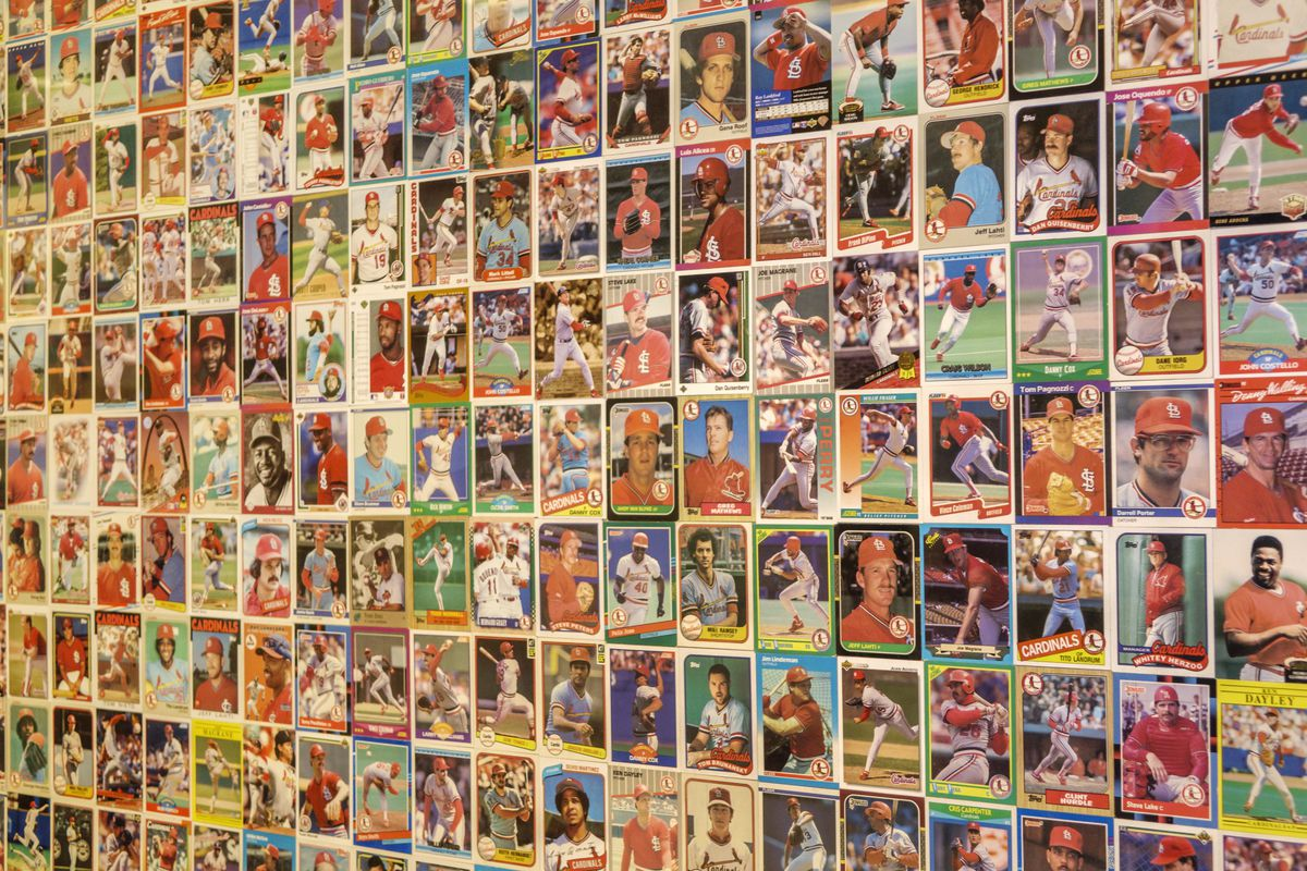 Hilton St. Louis at the Ballpark hotel baseball cards display.