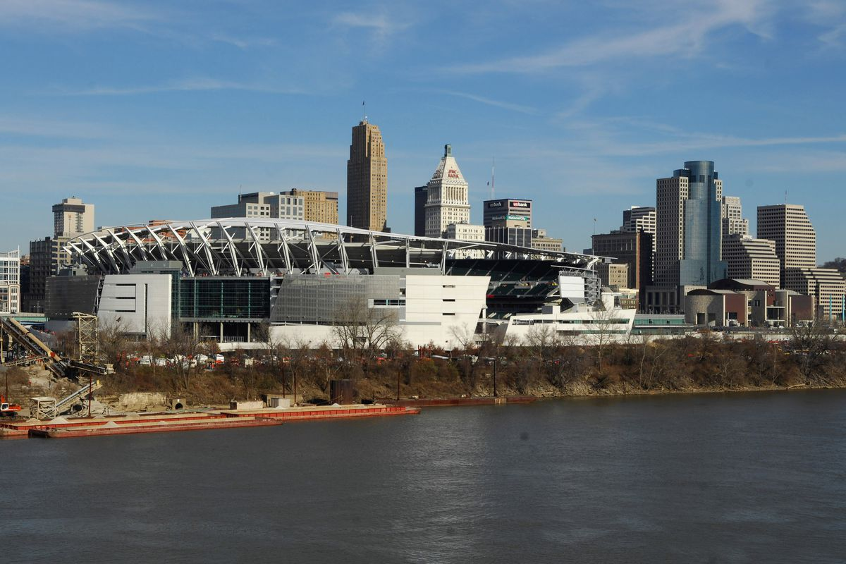 General view of Paul Brown Stadium, home of the Cincinnati Bengals, with the Ohio River and downtown skyline in Cincinnati, Ohio on Sunday, December 10, 2006.