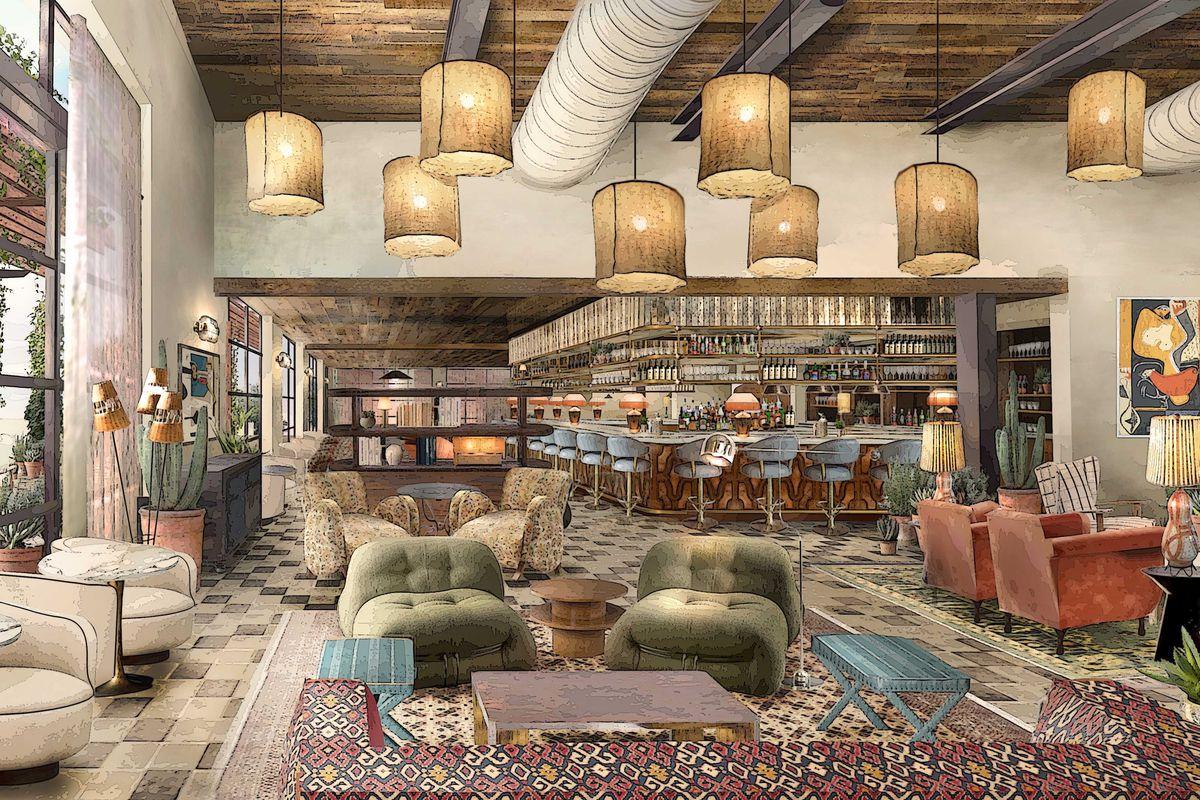 Rendering of Soho House Austin's club space