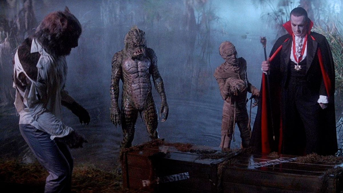 The Monster Squad hangs around a graveyard in Monster Squad