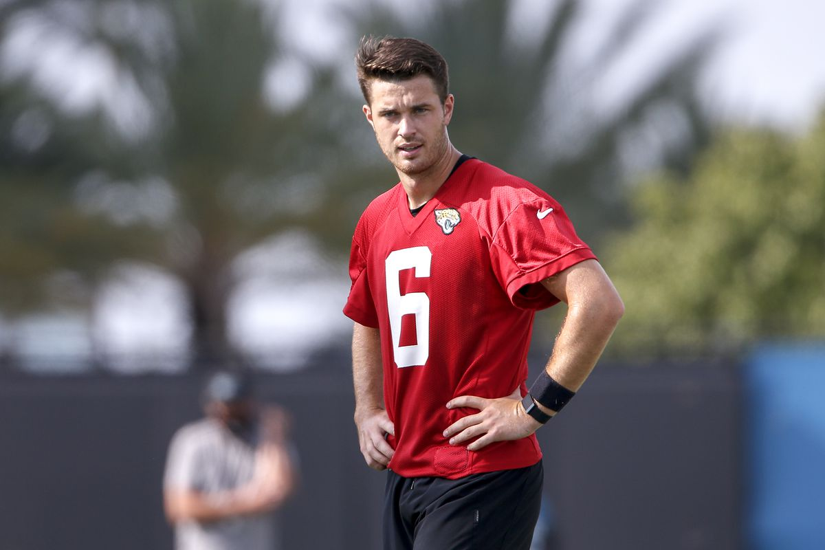 Quarterback Jake Luton of the Jacksonville Jaguars looks on during training camp at Dream Finders Home Practice Fields on August 12, 2020 in Jacksonville, Florida.