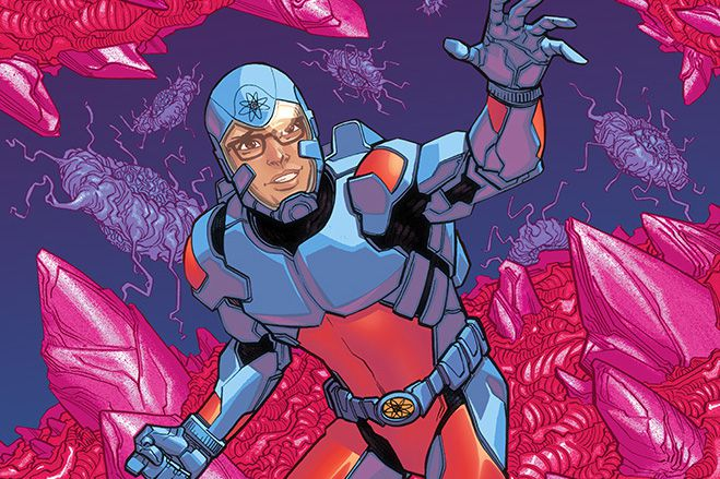Ryan Choi, in his blue and red Atom suit with size-changing belt, in a micro world full of bacteria, on the cover of Justice League of America: The Atom Rebirth #1, DC Comics (2021).